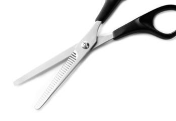 Hairdressing scissors, isolated on white