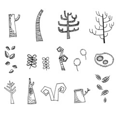 Dead trees drawing Vector
