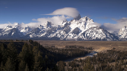 Cloudy Day Snake River Jagged Peaks Grand Teton Wyoming