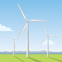 white windmill on the field, wind turbine