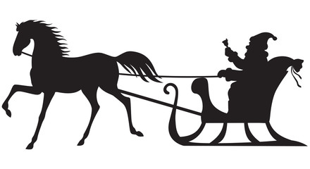 Santa Claus riding on a horse sleigh