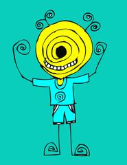 Cartoon cute monsters in Jaidee Family Style