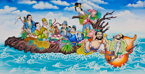 eight immorals crossing the sea painting