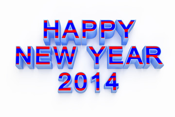 new year 2014 ,3d render text on white background