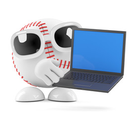 Baseball with laptop
