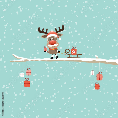 Wall mural Rudolph Glasses Pulling Sleigh With Gift Tree Retro
