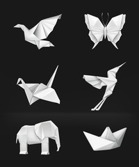 Origami set on black