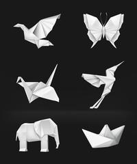 Origami set on black