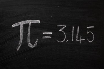 The symbol or sign for Pi on a blakboard