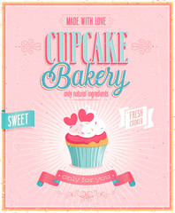 Wall Mural - Vintage Cupcake Poster. Vector illustration.
