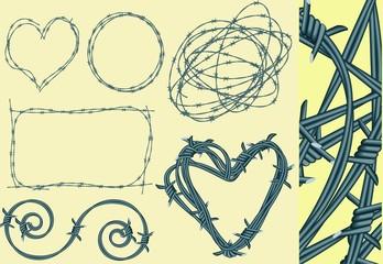 Barbed wires. Vector.