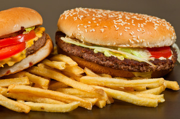 fast food set big hamburger and french fries
