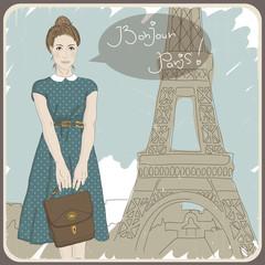 Foto op Canvas Illustratie Parijs Beautiful vintage card with a fashionable girl. Bonjour Paris!