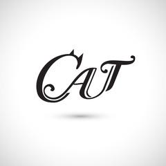 Cat label, vector illustration