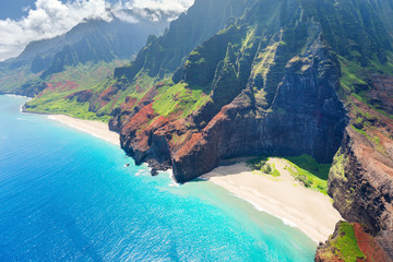 Aluminium Prints Sea Na Pali Coast on Kauai island