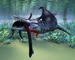 Liopleurodon attacks Plesiosaurus