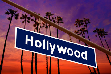 Wall Mural - Hollywood California road sign on redlight with pam trees  photo