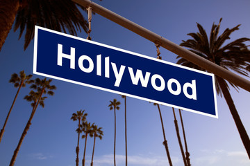 Wall Mural - Hollywood  sign illustration over LA Palm trees