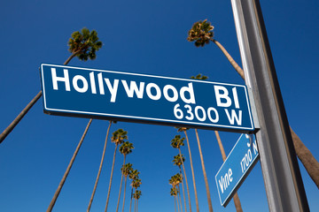 Wall Mural - Hollywood Boulevard with  sign illustration on palm trees