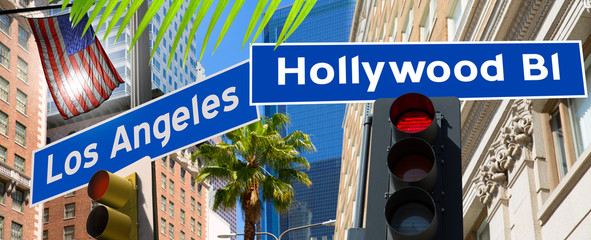 Wall Mural - Hollywood Los angeles redlight signs on California photo-mount
