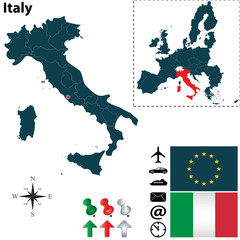 Map of Italy with European Union