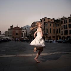 Girl near renesance villa