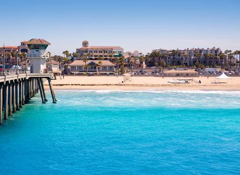 Huntington beach Surf City USA pier with lifeguard tower