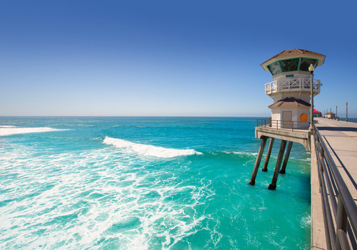 Huntington beach main lifeguard tower Surf City California