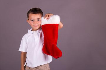 Boy and his Christmas stocking