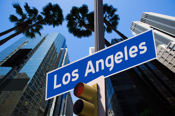 LA Los Angeles sign in redlight photo mount on downtown