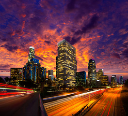 Wall Mural - Downtown LA night Los Angeles sunset skyline California