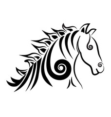 Swirly horse logo vector