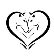 Stylized horses in love logo vector