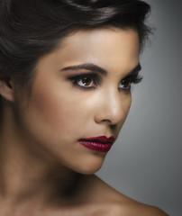 Beautiful young womans face profile shot