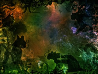 green magic background with black cats shapes