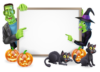 Halloween Witch and Frankenstein Banner