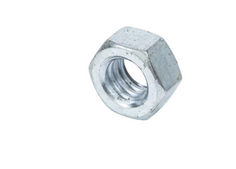 Old hexagon nut over white background