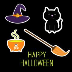 Happy Halloween witch's set. Black cat, hat, cauldron, broom. Ca