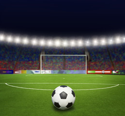 Green soccer field, bright spotlights,