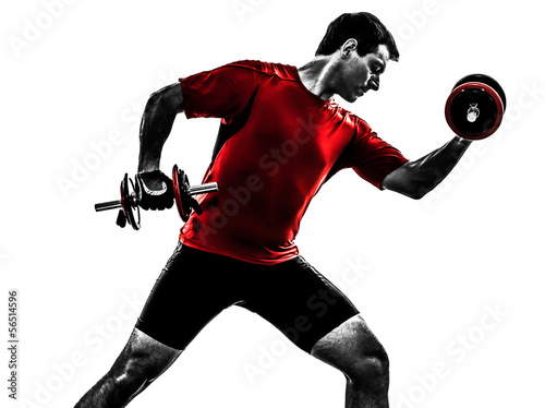 Wall mural man exercising weight training silhouette