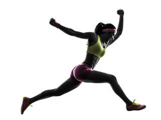 Wall Mural - woman runner running jumping  shouting silhouette