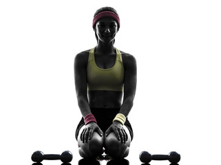 Wall Mural - woman exercising fitness workout weights silhouette