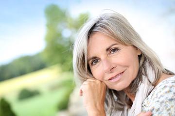Portrait of senior blond woman