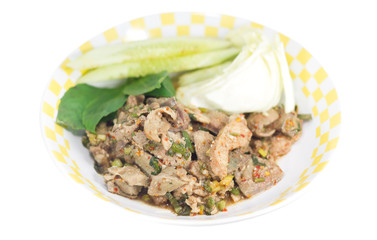Traditional thai food grilled pork spicy salad