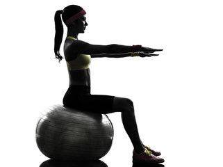 Wall Mural - woman exercising fitness ball workout  silhouette