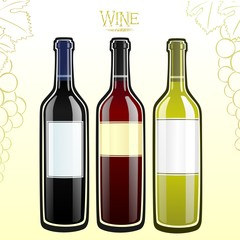 Red, rose and white wine