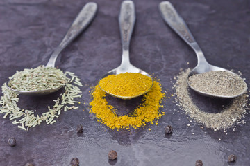 spices in a spoon on the table