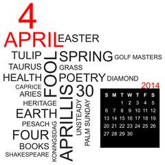 word cloud and calendar april 2014