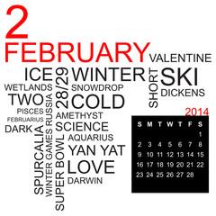 word cloud and calendar february 2014