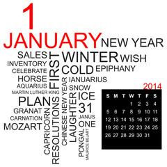 word cloud and calendar january 2014